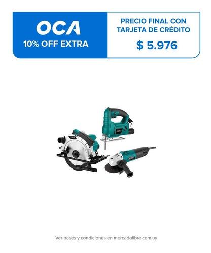kit amoladora + sierra caladora + sierra circular xion