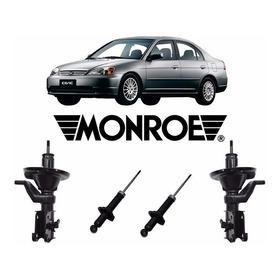 Kit Amortecedor Diant + Tras Honda Civic 2001 À 2002 Monroe