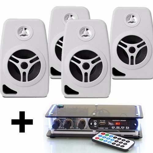 kit  amplificador bluetooth e 4 caixas acusticas+20m de fios