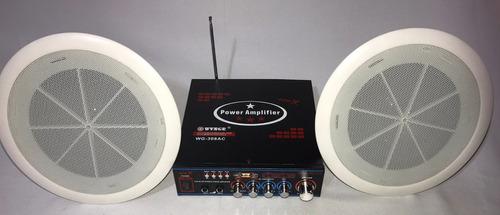 kit amplificador bluetooth sonido ambiental 2parlantes techo