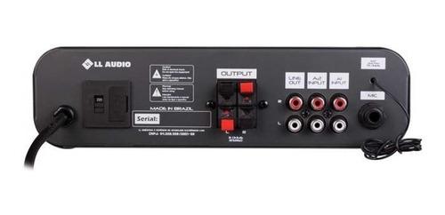 kit amplificador sa100bt bluetooth + 2 caixa sp400 preta nca