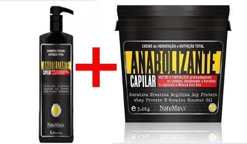 kit anabolizante capilar natumaxx( shampoo 02 lt+anab 3.2kg)