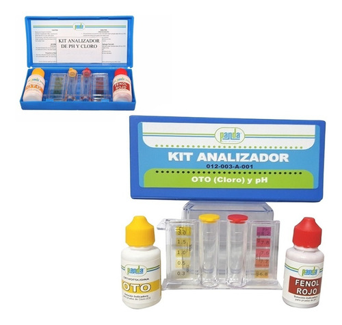 kit analizador cloro y ph para albercas panda con goteros