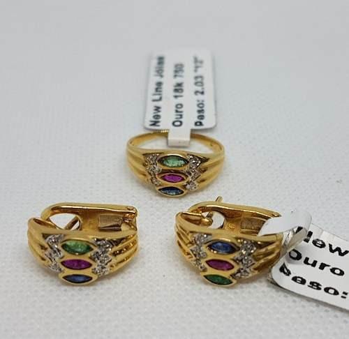 kit anel n- 12 e brincos em ouro 18k 750 impecáveis 8,23g