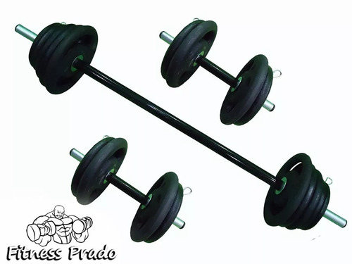 kit anilhas 30kg +1 barra de1,20 + 2 barras de 40cm promoção