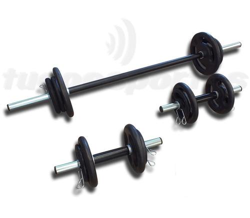 kit anilhas 30kg 3 barras pró e hand grip