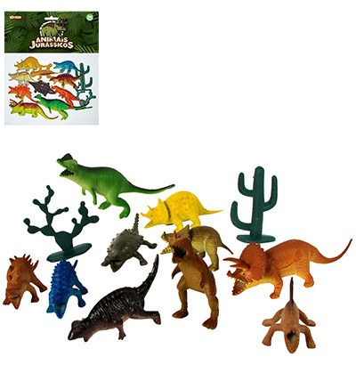 kit animal dinossauro de pvc jurassicos medio com 12 pecas s