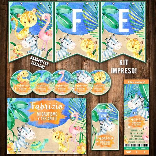 kit animales de la selva invitaciones banderín impreso