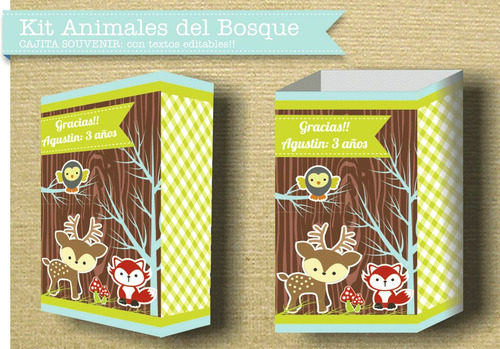 kit animales del bosque nene