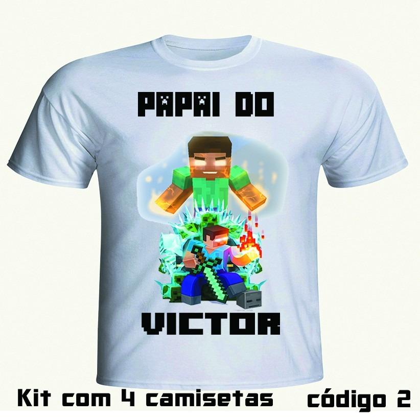474548ea58 kit aniversário minecraft 6 camisetas personalizadas. Carregando zoom.