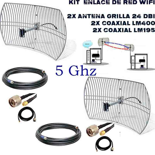 kit  antena wifi enlace de red inalambrico  5 ghz