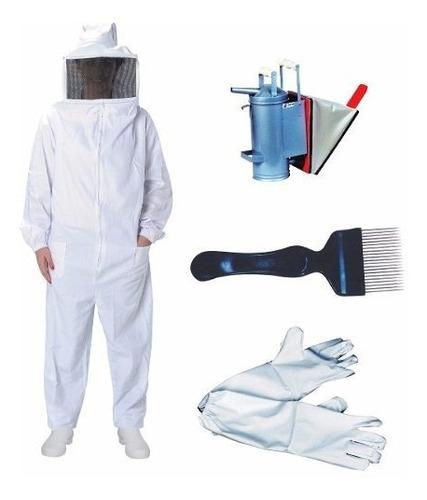 kit apicultor 2 macacão de brim + 2 luva + fumigador + garfo