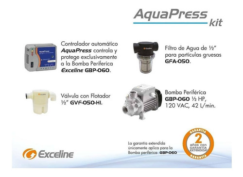 kit aquapress exceline 120v aumento caudal de agua gkb-060p
