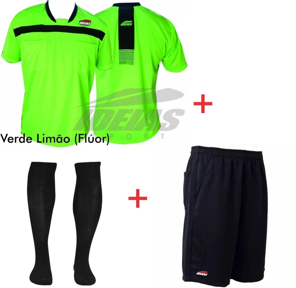 Kit Arbitro De Futebol Camisa + Shorts + Meião Profissional - R  96 ... 7157818887a78