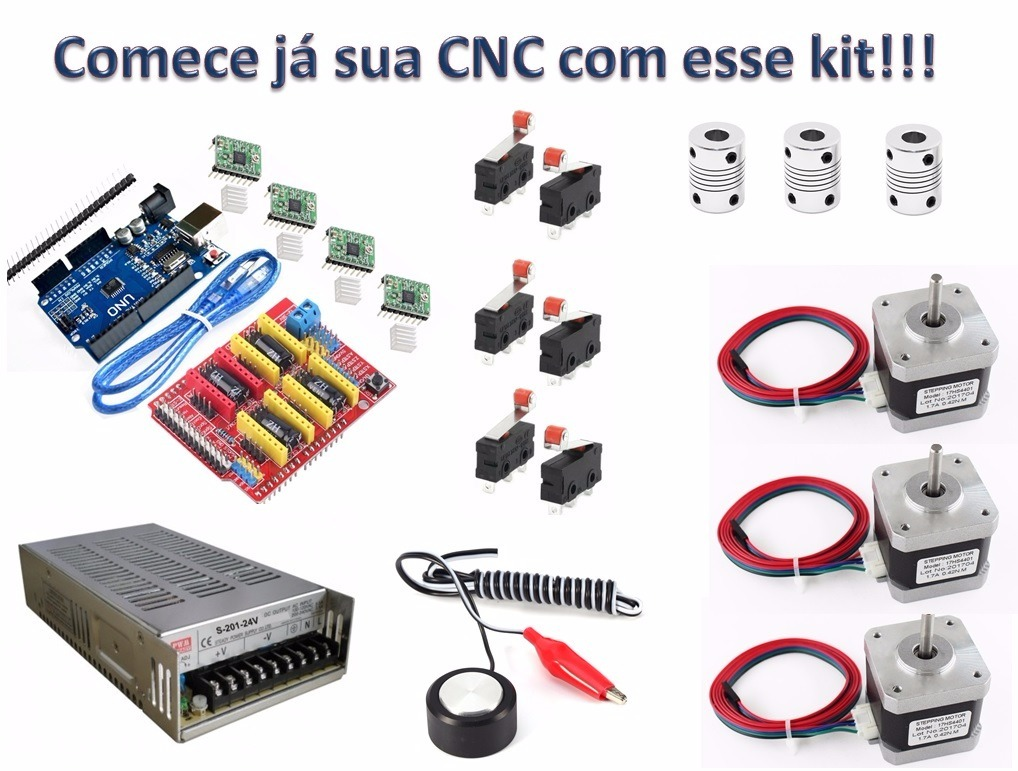 Kit Arduino Cnc Shield Controle + Motores + Fonte + Sensores
