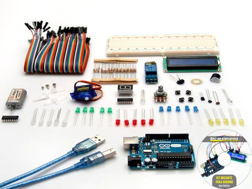 kit arduino iniciante com 153pçs + manual c/ 19 experimentos
