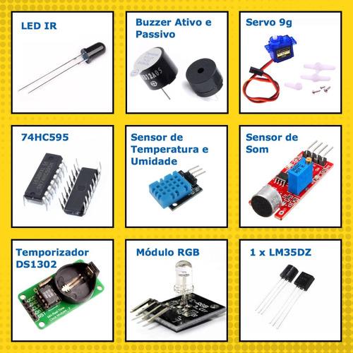 kit arduino mega 2560 avançado + lcd + protoboard + brindes