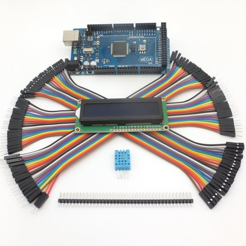 kit arduino mega plus: cable usb + dupont + dht11 + lcd 16x2