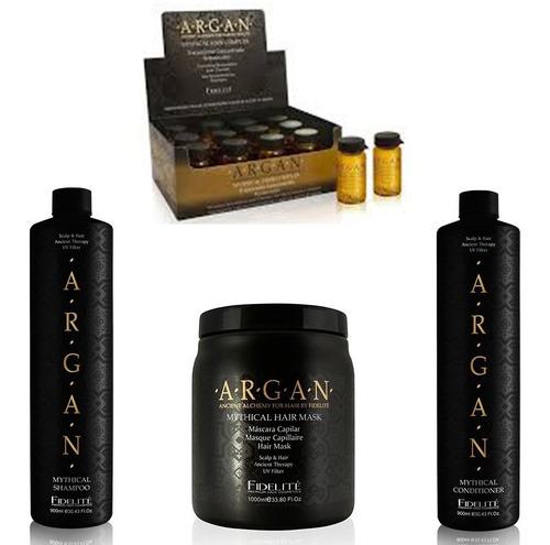 kit argan fidelite shampoo + conditioner + ampolla + mascara
