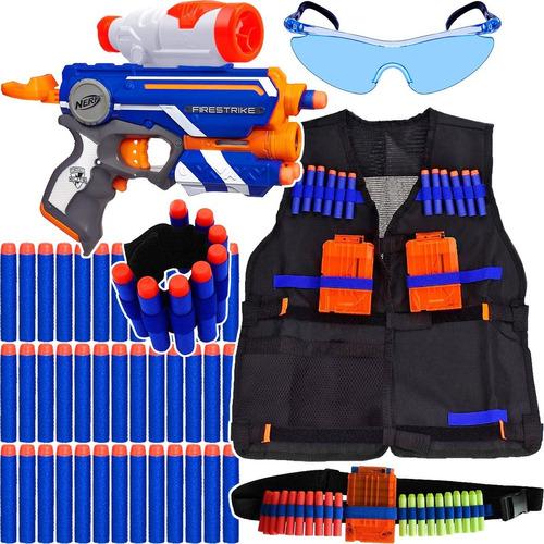 kit arma pistola nerf elite + colete + acessórios +60 dardos