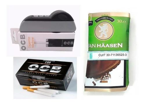 kit armar maquina cigarrillo ocb + 100 tubos + bolsa tabaco