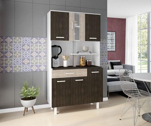 kit armário cozinha completa manu 6 portas 1 gaveta oferta