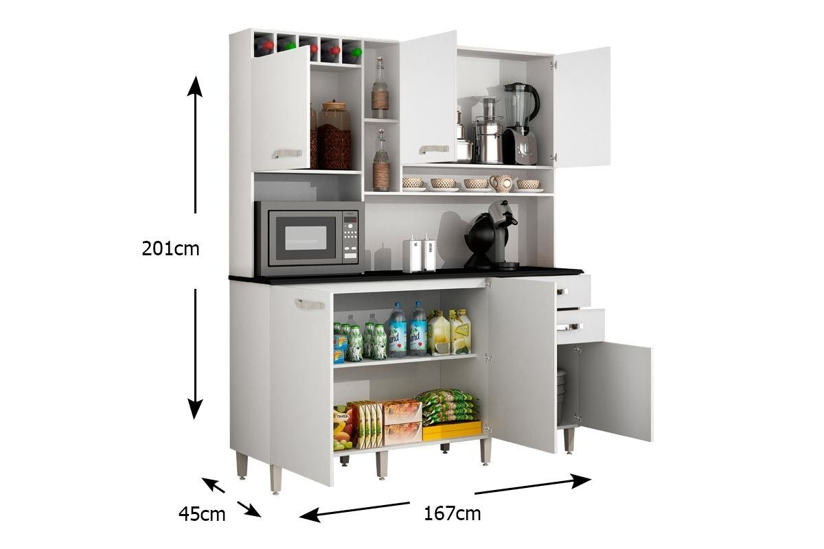 Kit Arm Rio Cozinha Topazio 6 Portas 100 Mdf Apenas Rj R  ~ Itens Essenciais Para Cozinha