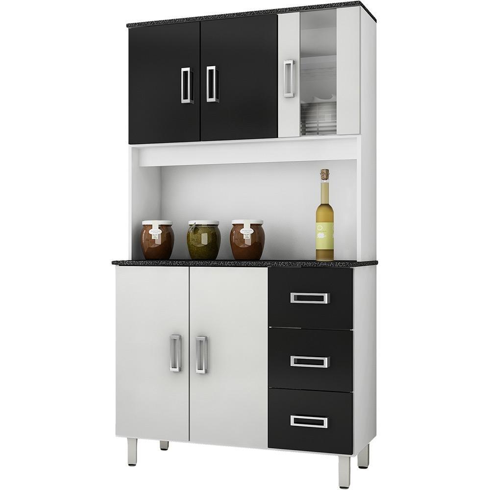 Artesanato Tiradentes ~ Kit Armário De Cozinha Pequeno Em Promoç u00e3o Branco E Preto