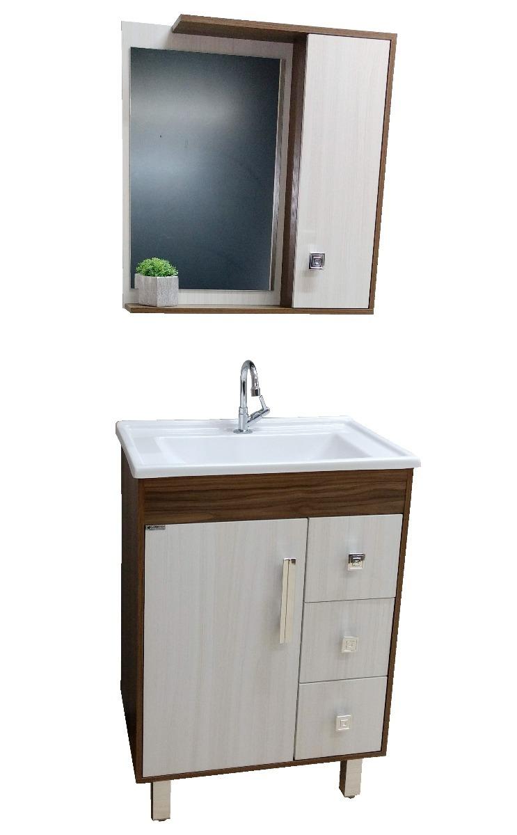 Kit Armário Gabinete Banheiro Eva60cm Balcão Esp Cuba Pia