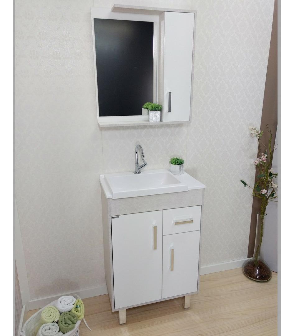 Kit Armário Gabinete Banheiro Ozy55cm Balcão Esp Cuba Pia