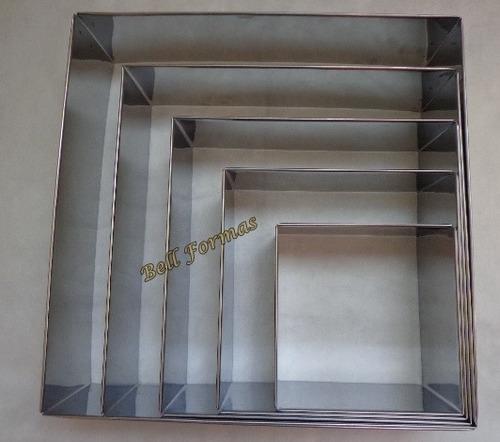 kit aro cortador quadrado 5 pçs 10cm alt + kit redondo 5 pçs