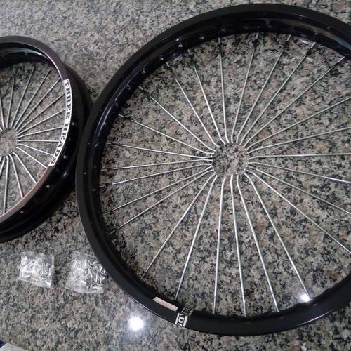 kit aros de roda alumínio c/ raios cromados 4mm nx400 falcon