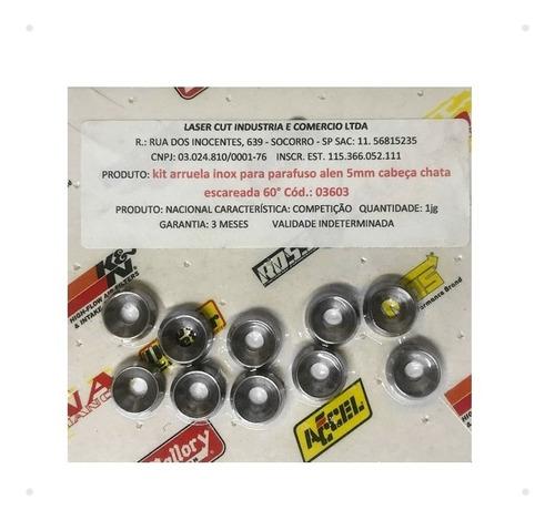 kit arruela inox p/ parafuso alen 5mm cabeça chata 60º 03603