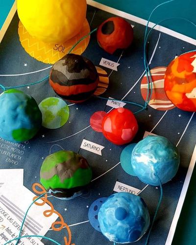 kit arte sistema solar p/ armar planetas niños manualidades