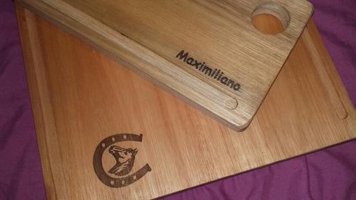 kit asador tabla + 4 platos madera laser todo personalizado