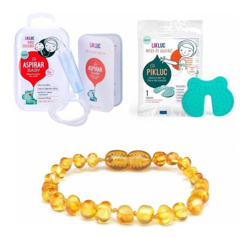 kit aspirador nasal + pikluc + pulseira bebê âmbar 14cm