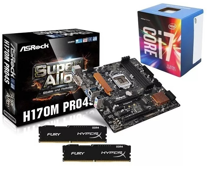 Kit Asrock H170m Pro4s + Intel Core I7-6700 Box + 8gb Ddr4 ...