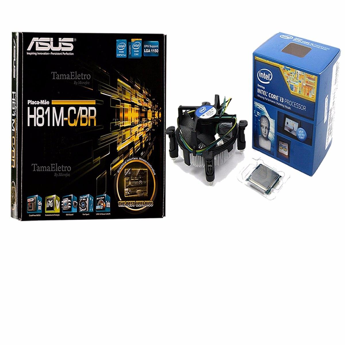 Kit asus intel h81m a br lga 1150 memoria 8gb 1600mhz ddr3 r 629 - Kit Asus H81m C Br Lga1150 Processador Intel Core I3 4170