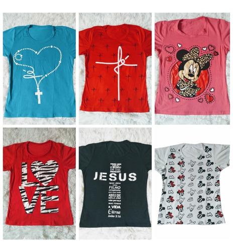 kit atacado 10 camiseta infanto juvenil menina  t shirt