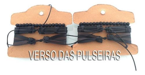 kit atacado 10 conjuntos com 30 pulseiras masculina de couro