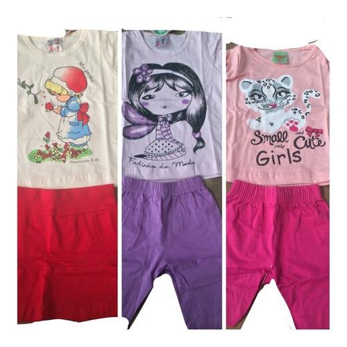 kit atacado 10 conjuntos feminino personagens roupa menina