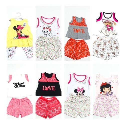 kit atacado 20 conj 2 pcs roupa menina infantil 1 2 3  anos