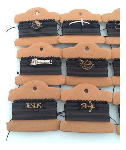 kit atacado 20 conjuntos com 60 pulseiras masculina de couro