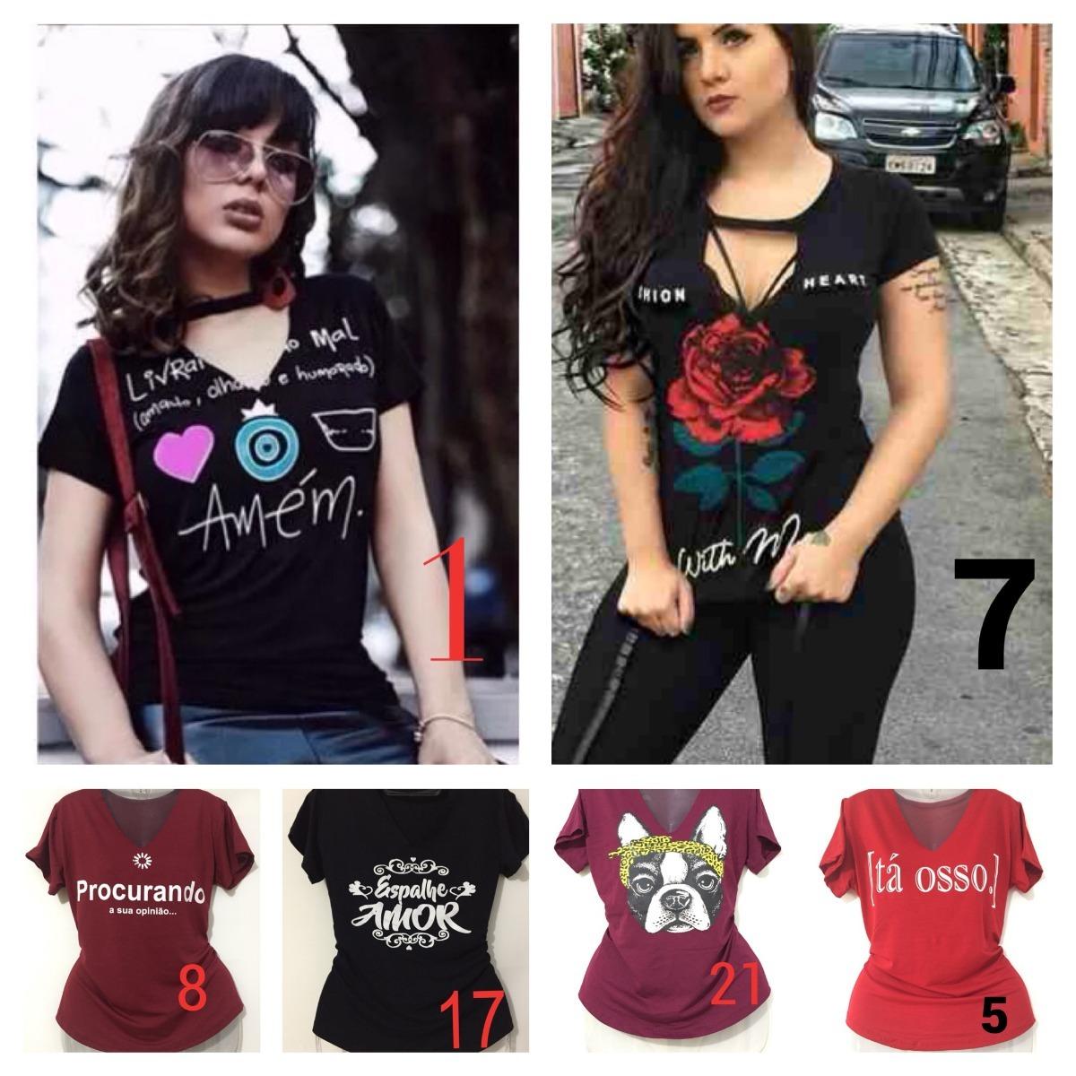 6f554079aa kit atacado blusa t shirt feminina manga curta moda verão 6p. Carregando  zoom.