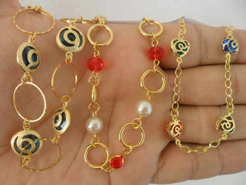 kit atacado revenda 20 pulseiras femininas folheado ouro 18k