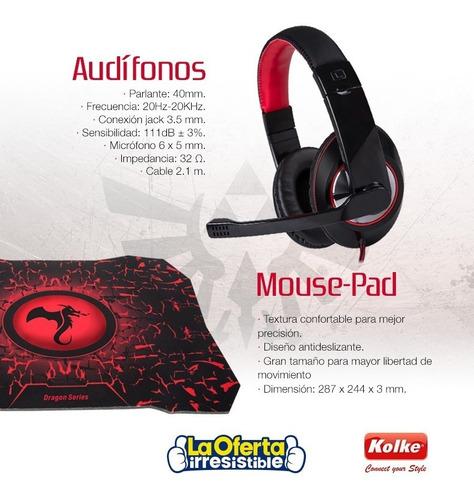 kit audifono teclado mouse y pad gamer kolke destroyer loi