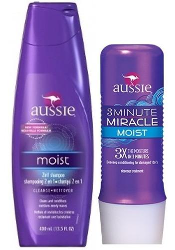 kit aussie moist shampoo 400ml + 3 minute miracle 236ml