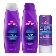 kit aussie moist shampoo + cond. + moist milagre 3 minute