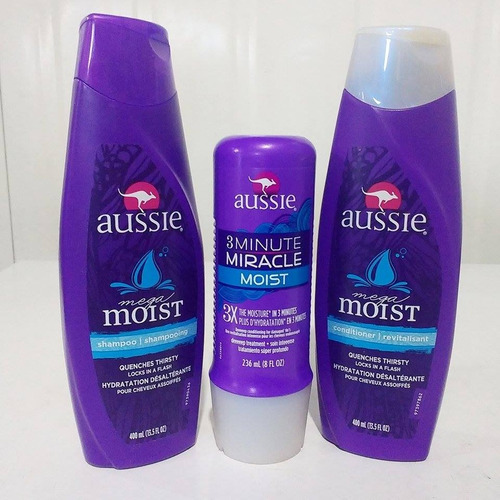 kit aussie shampoo 400ml + condicionador + 3 minute miracle