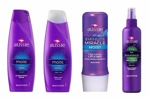 kit aussie shampoo+condicionador+3 minute miracle+leave-in